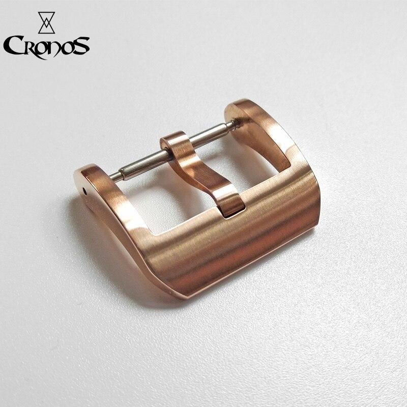 Piezas de reloj Cronos hebilla de bronce para correas hebilla de lengua cepillada 20 mm 3,0 con barras de resorte