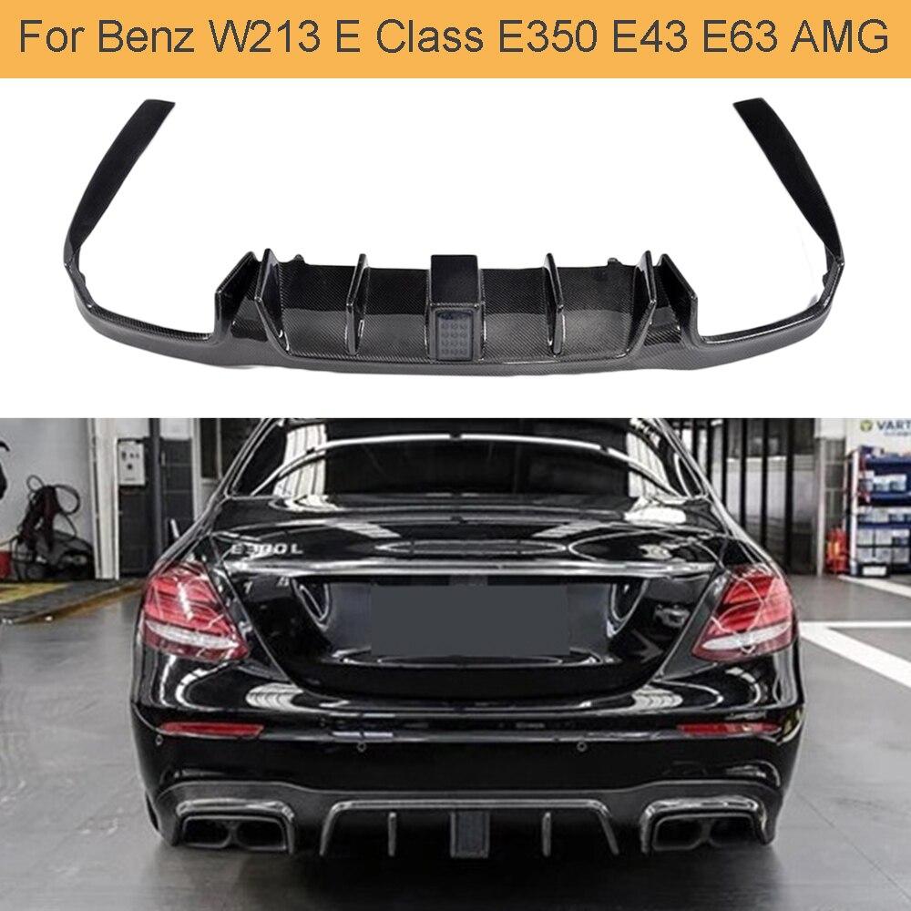 Rear Diffuser For Mercedes Benz W213 E250 E250 E350 E400 E43 E63 AMG 2016 - 2018 Car Rear Bumper Carbon Fiber Diffuser Lip