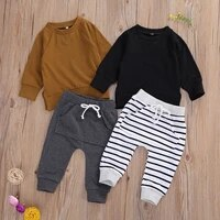 0 24m spring and autumn baby boys clothing sets long sleeve pullover sweatshirt tops solidstriped pants trousers
