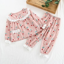 2020 Spring Autum Lace Pajamas Suit Children Long Sleeve Lapel Cardigan Girls Clothing Kids Pajamas Set Sleepwear Princess Sets