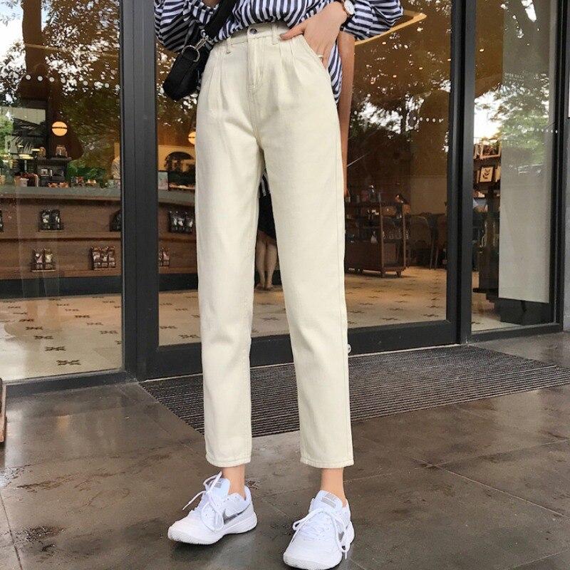 Jasny kolor wysoka wyszczuplająca talia dżinsy dla kobiet Ins Trendy 2021 nowy koreański styl małe proste nogawki spodnie do kostek