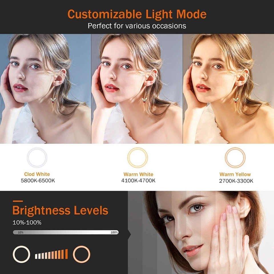 6/10inch Photography Lighting Ringlight with Tripod Phone Stand Led Selfie Ring Lamp Camera Studio Makeup Set Youtube Live Video enlarge