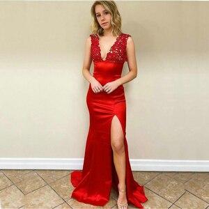 Красное вечернее платье с юбкой-годе, Длинные атласные вечерние платья с V-образным вырезом, кружевной аппликацией и открытой спиной, 2020