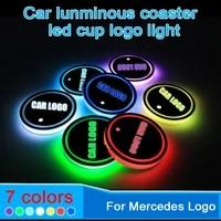 2pcs car interior water coaster 7 colors led light smart cup mat for mercedes benz interior accessories