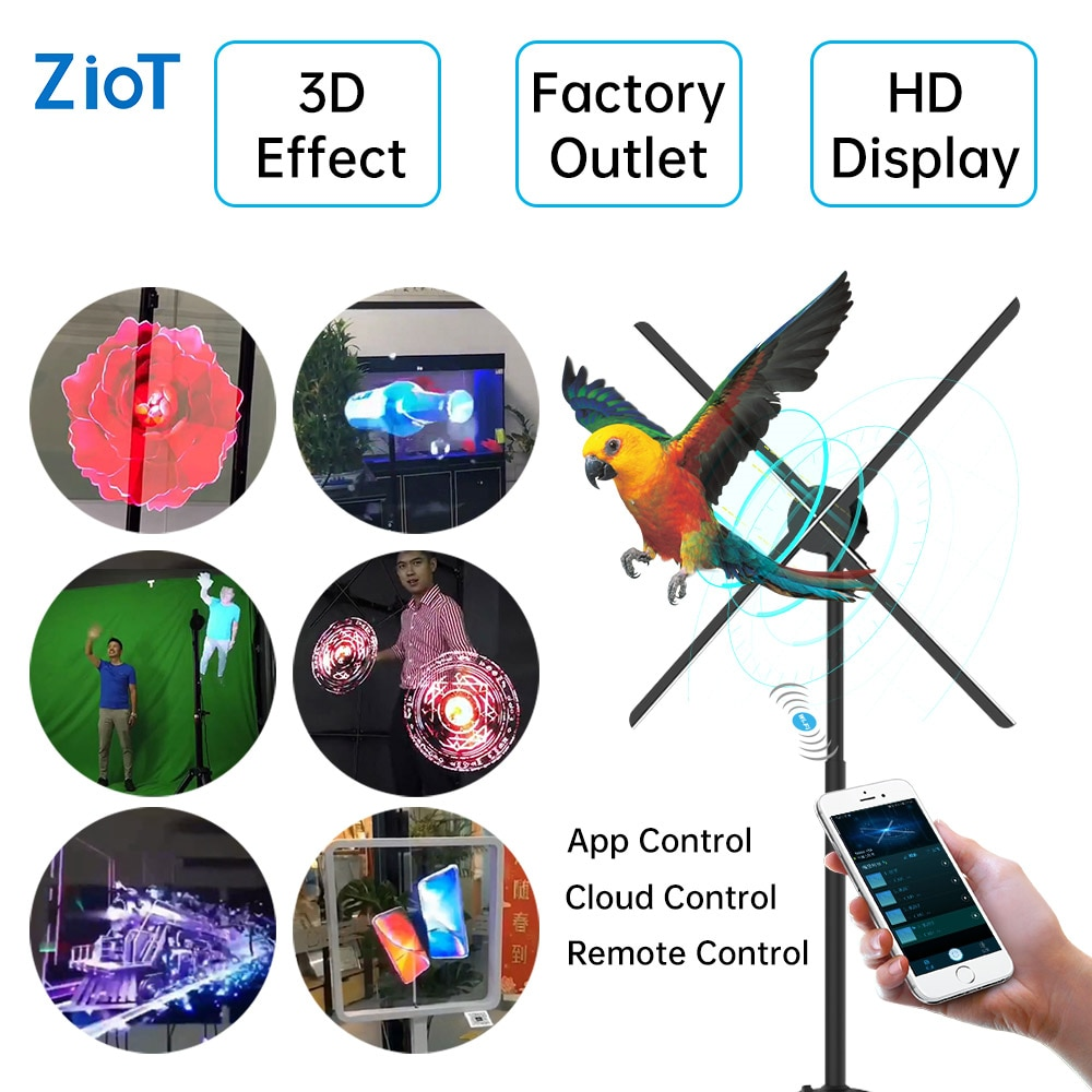 ZIoT UHD Naked-Eye 3D Holographic Projector Hologram Player LED Fan Stereoscopic Display Imaging Advertising Light Decoration недорого