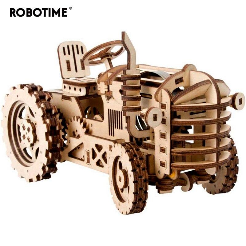 Robotime criativo móvel diy trator modelo de madeira kits montagem brinquedo presente para crianças adulto lk401 dropshipping