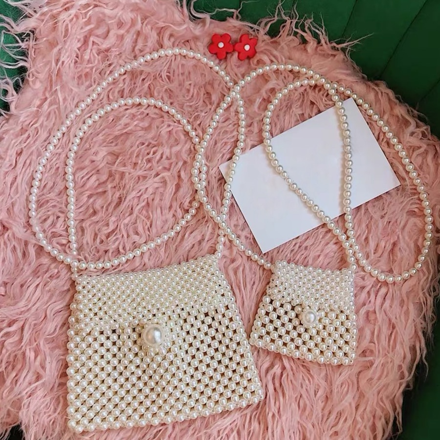 Handmade Pearl Bags Women Handbags Ladies Evening Party Shoulder Bag Elegant Beaded Messenger Crossbody Bags MIni Phone Purse