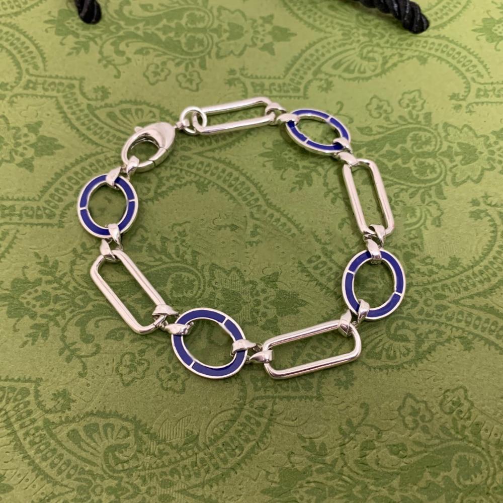 ضوء ماركة المجوهرات الفاخرة s925 فضة موضة الأزرق دائرة سوار للرجال والنساء عيد الميلاد عيد الحب هدية
