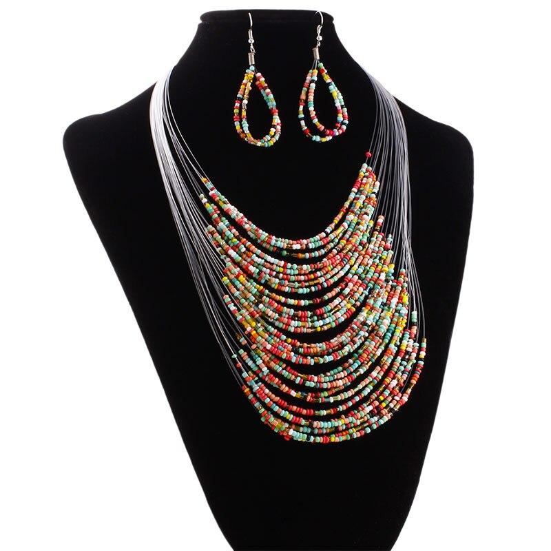 De las mujeres de la moda Multicolor 20 capa línea de Set de collares largos con novia pendientes de novia cuerda Bohemia declaración conjunto de joyas