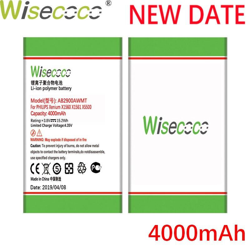 Batería de teléfono Wisecoco AB2900AWMT 4000mAh nueva potente para Philips X1560 X1561 X5500 CTX1560 CTX1561 CTX5500 + número de seguimiento