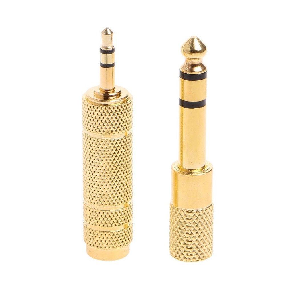 Стерео-кабель с разъемом 6,35 мм, золотистый, 6,5 мм, 1/4 дюйма, штекер на гнездо 3,5 мм, адаптер для наушников и микрофона, 2 шт.