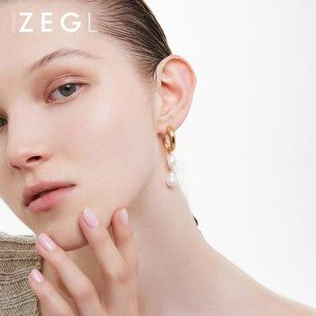 ZEGL Irregular Unusual Shape Fresh Water Pearl Earrings Female Mild Luxury Retro Baroque Stud 925 Silver Needle Ear Jewelry