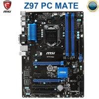 Материнская плата MSI Z97 PC Mate, LGA 1150 DDR3 USB3.0 DVI VGA HDMI, 32 ГБ, материнская плата для настольного ПК Core i7/i5/i3, б/у