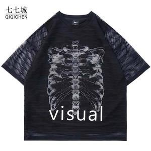 False Two Piece Tshirt Men Skeleton Print Hip Hop Streetwear Harajuku O-Neck T-shirt Oversized Retro Men Summer Tee Tops Couple