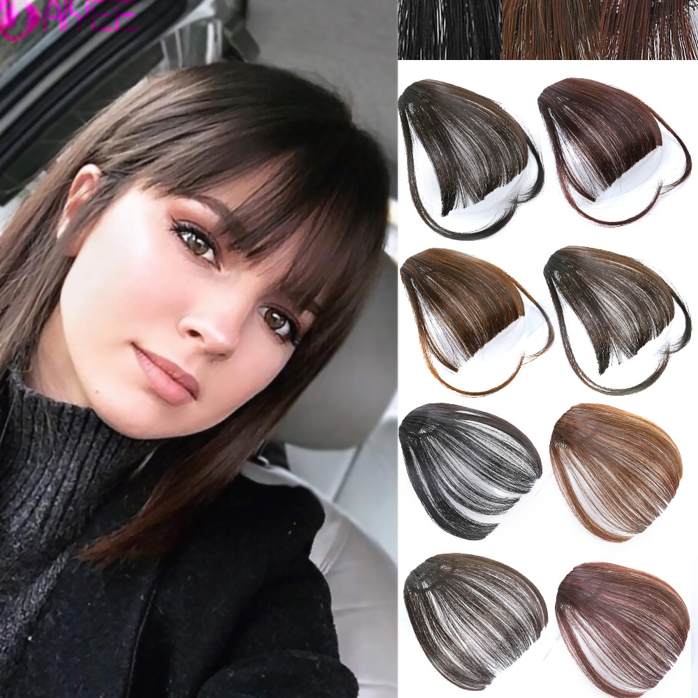 AIYEE Clip in Hair Air Bangs Invisible Synthetic Bangs Front Fiber Thin Blunt Hairpiece Fiber Hair Bangs for Women