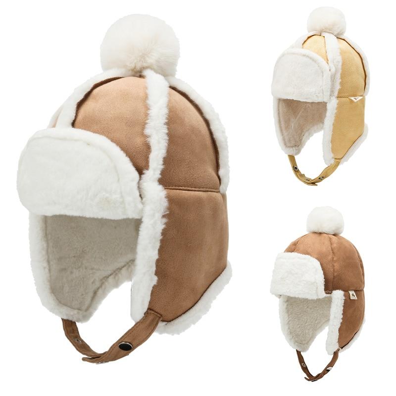 Kid Baby Boy Girl Winter Russia Hat Fur Ball Ear Ear Flap Muff Winter Thicken Warm Cap with Plush Ch