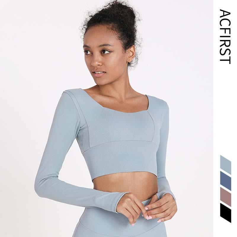 AcFirst женские футболки с длинным рукавом для бега, сексуальные футболки с пупком для йоги, однотонные спортивные рубашки, быстросохнущие кро...