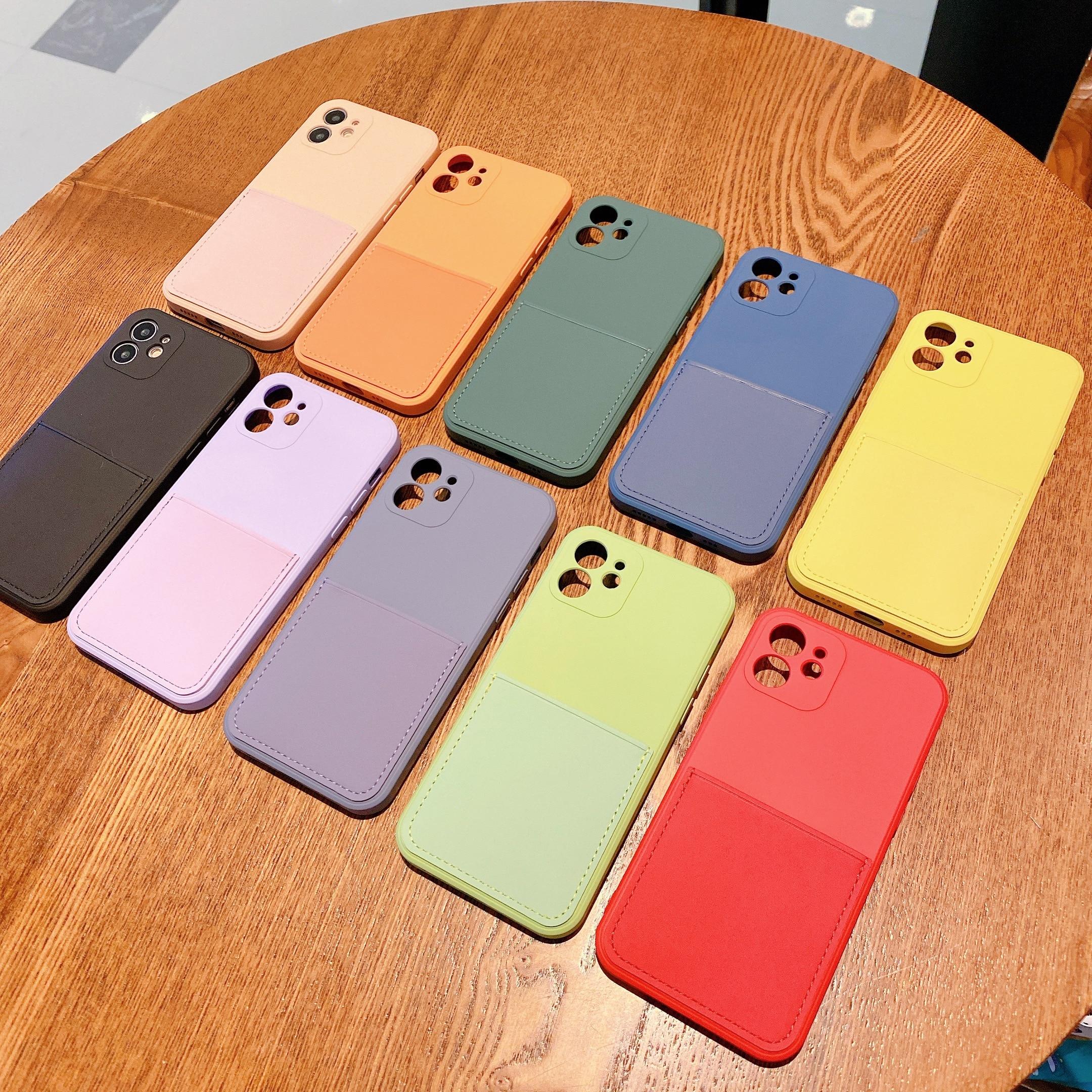 Liquid Silicone Luxury Case For Apple iPhone 11 12 Pro Max mini SE 2020 X XR XS Max 7 8 Plus Card St