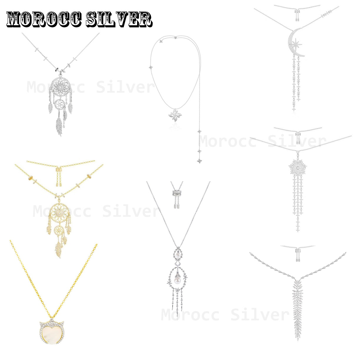 S925 Sterling Silver Jewelry 1:1 Copy, New Fashion Feather Inlaid Crystal Women's Sweater Tassel Necklace Noble Jewelry