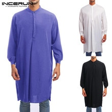 INCERUN hommes Jubba Thobe musulman arabe islamique caftan à manches longues solide moyen-orient Robes saoudien arabe Thobe hommes vêtements grande taille