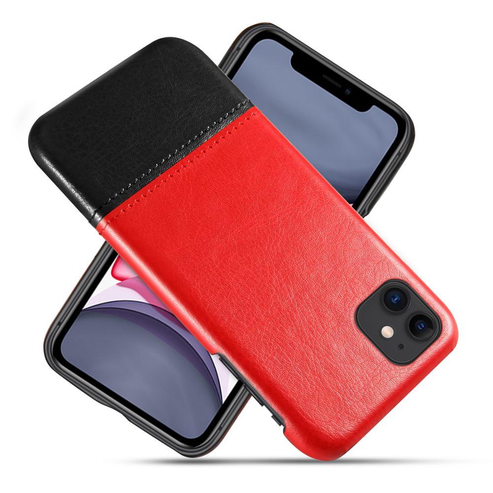 Funda de cuero PU Retro de costura delgada para iPhone 11 pro max X XR Xs max 6 6s 7 8 Plus SE 2020 cubierta trasera a prueba de golpes para hombres