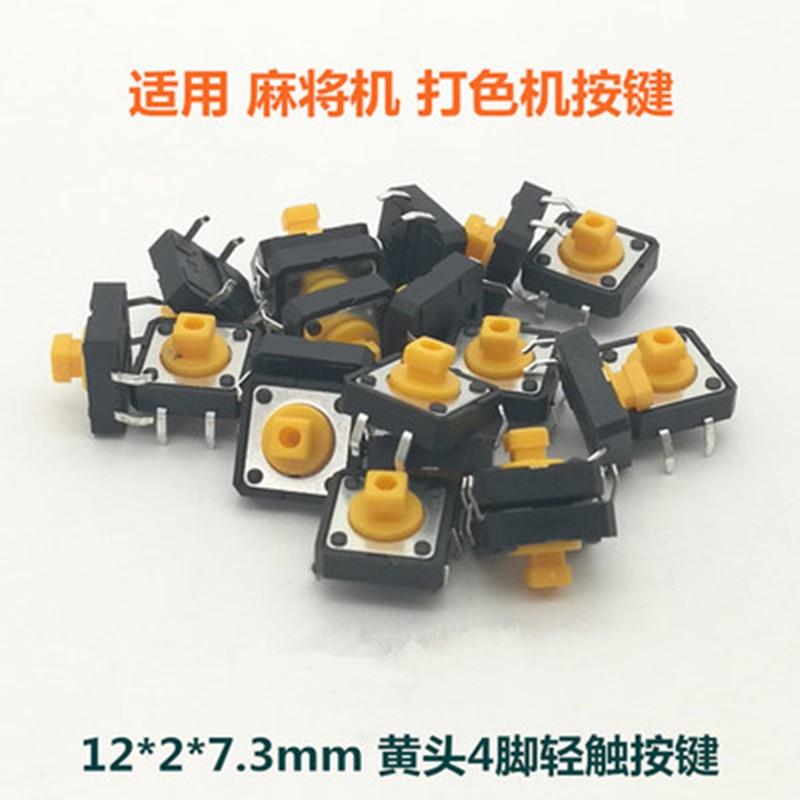 20 pces 12x12x7.3mm interruptores táteis quadrados amarelos botão tact interruptor 12*12*7.3mm micro interruptores