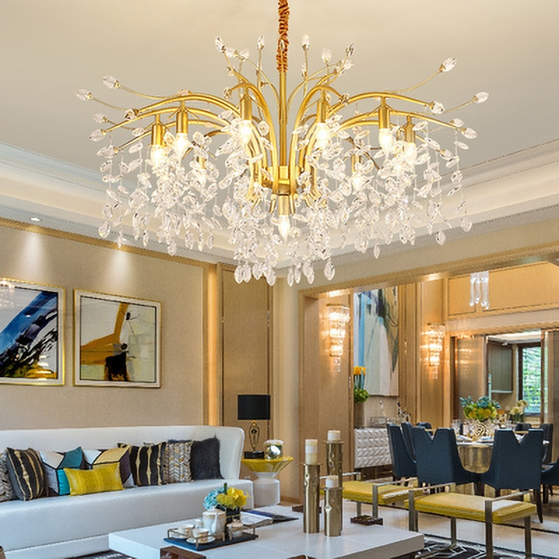 Nordic Modern LED K9 Crystal Chandeliers Luxury lustre pendente Gold Black Chandelier Lighting for Living room Bedroom Kitchen