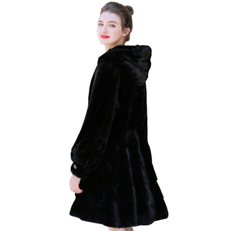 90 سنتيمتر حقيقية فرو منك سترة معطف مع هودي الشتاء النساء X-طويلة ملابس خارجية الملابس حجم كبير 4XL 5XL LF9117