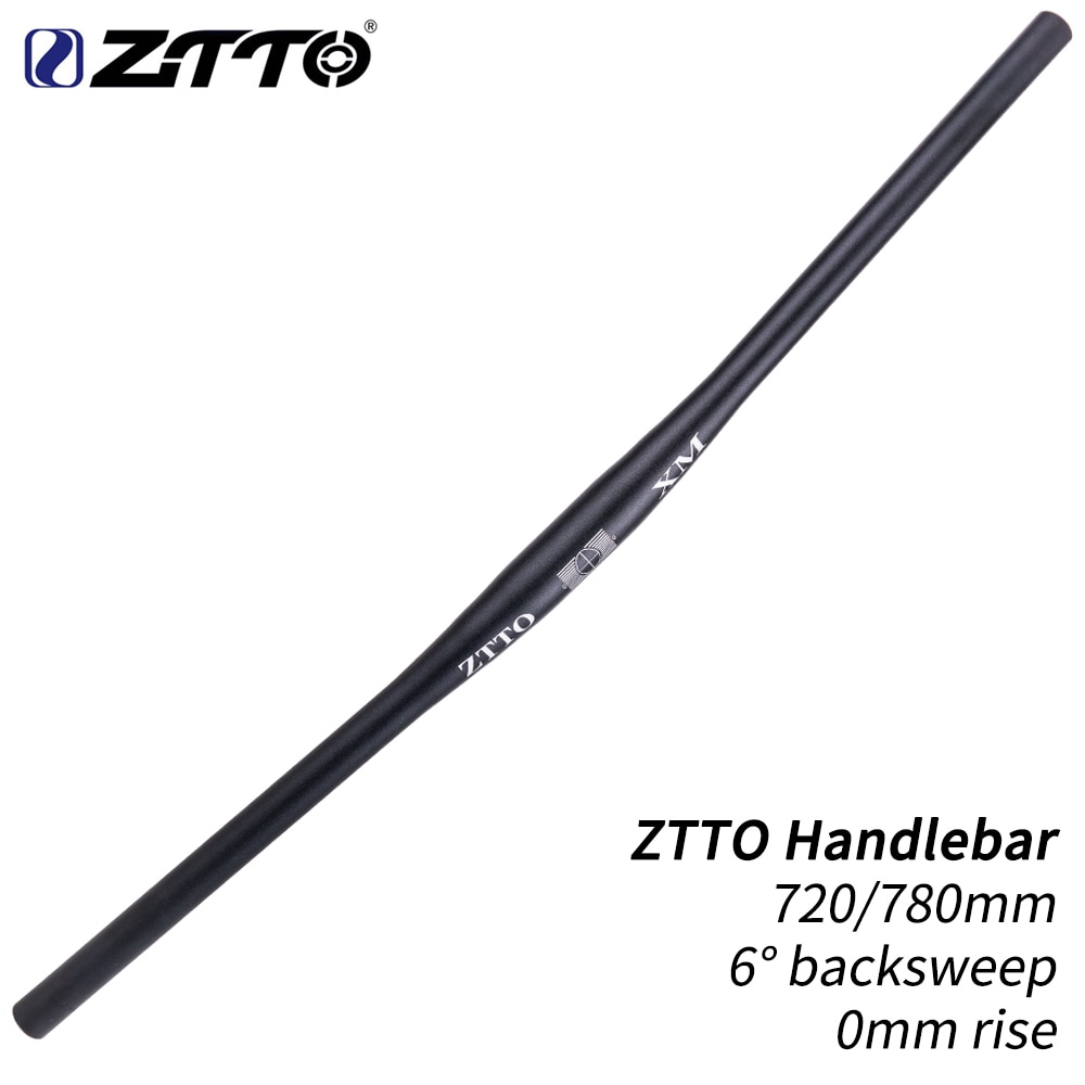 Manillar de bicicleta ZTTO XM MTB negro 720mm 780mm 31,8mm aleación de aluminio Barra plana tubo recto grueso 6 grados Backsweep