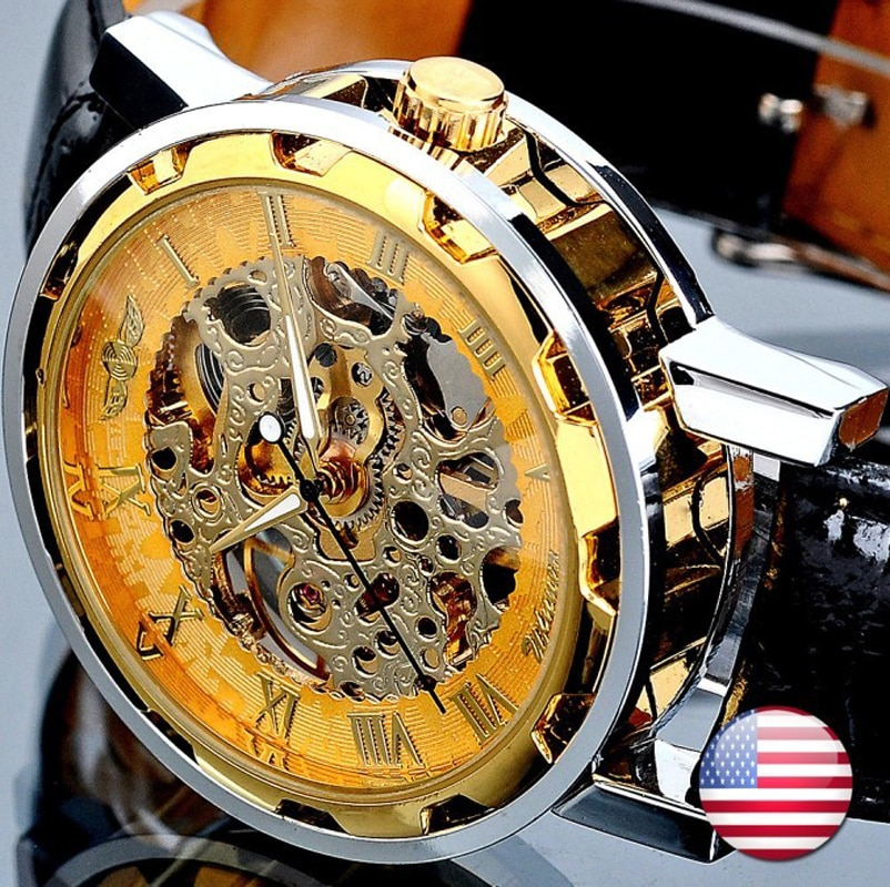 Fashion Winner Black Leather Band Stainless Steel Skeleton Mechanical Watch For Man Gold Mechanical Wrist Watch Luxury Brand