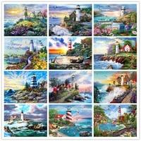 5D BRICOLAGE Diamant Broderie Phare Point De Croix Mosaique Diamant Peinture Paysage de Bord de mer Strass Art Decor A La Maison