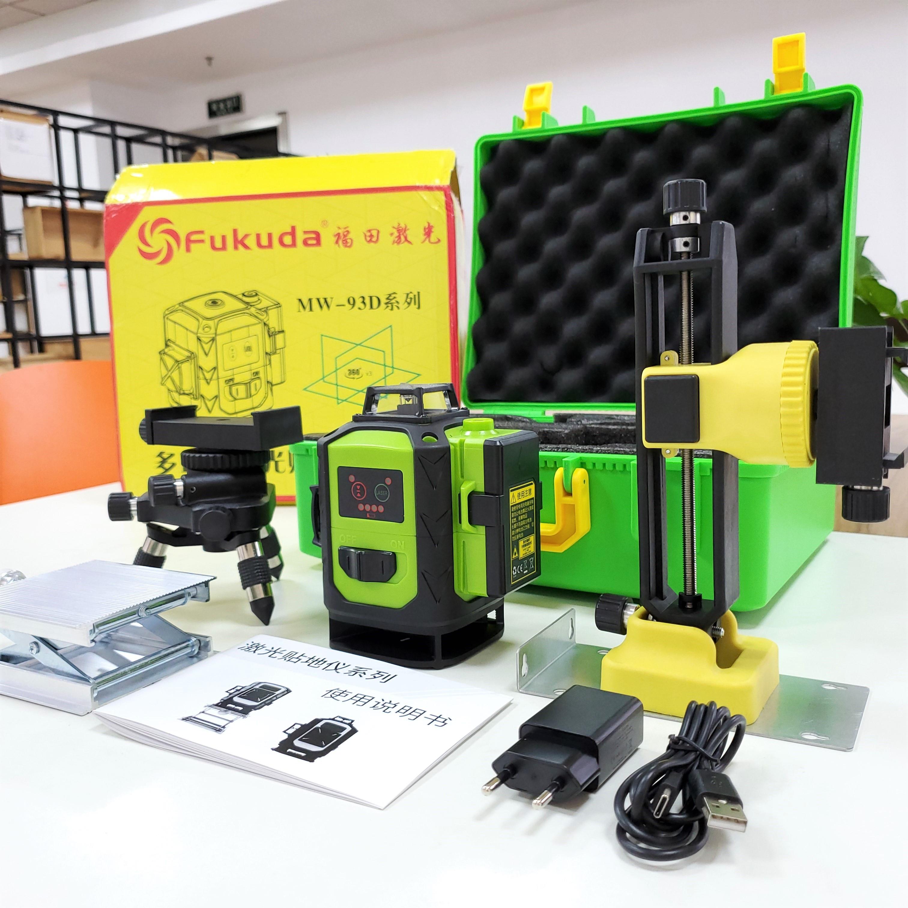 فوكودا 16 خط 4D شعاع أخضر 360 عمودي أفقي الذاتي التسوية الصليب للخارجية التحكم عن بعد مستوى الليزر