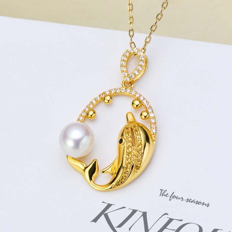 دولفين-تركيبات قلادة فضية لصنع المجوهرات ، مجوهرات من 6 إلى 7 مللي متر ، لؤلؤ غير متضمن