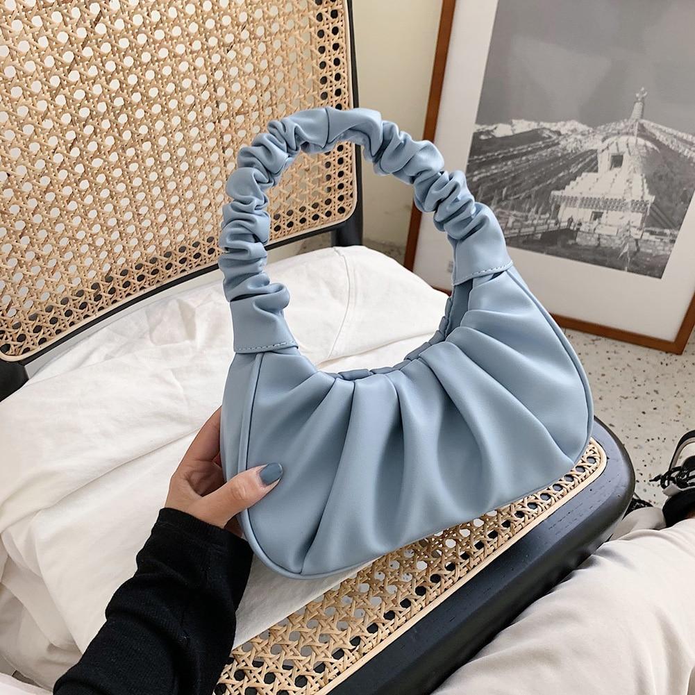 Folds Design Small PU Leather Shoulder Bags Elegant Dumplings Handbags Female Travel Totes Fashion Top-handle Bags Women 2021