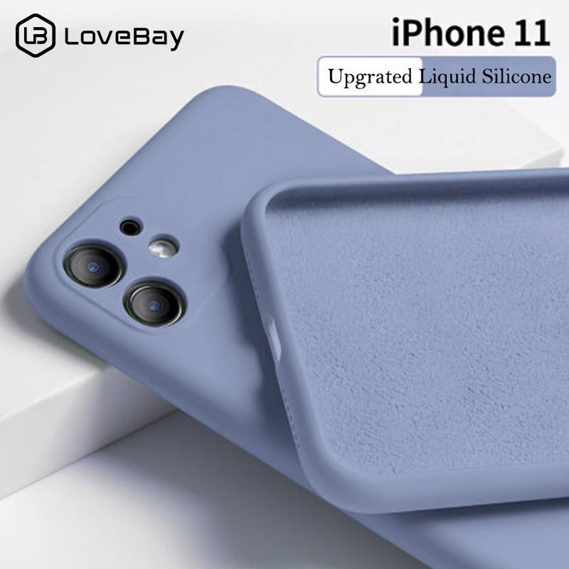 Lovebay, яркие цвета, чехол для телефона iPhone 11 11 Pro Max, жидкий силикон, однотонный, однотонный, для iPhone 11, чехол из мягкого ТПУ, задняя крышка, оболочка
