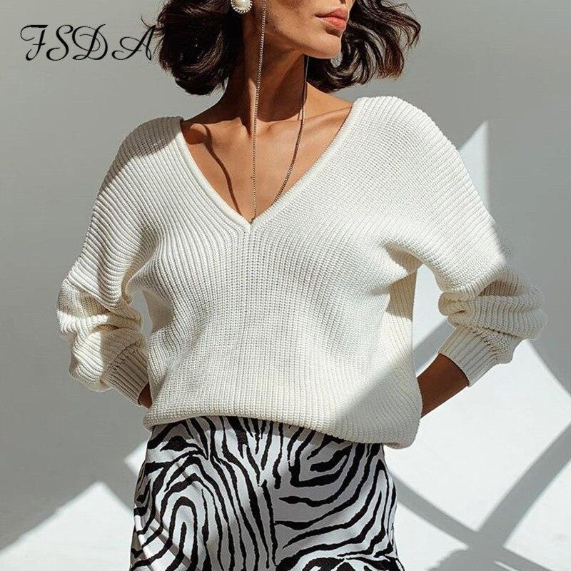 FSDA, jersey de manga larga para Otoño e Invierno 2020 con cuello en V, Jersey holgado de color caqui para mujer, Jersey Sexy de punto, suéter Casual blanco para mujer