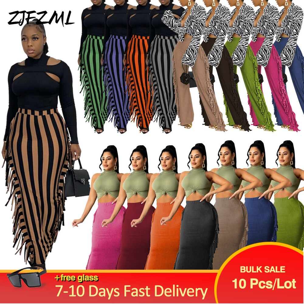 Bulk Items Wholesale Lots High Waist Tight Skinny Skirt Women Side Tassel Maxi Skirt Street Style Autumn Bandage Sheath Skirts