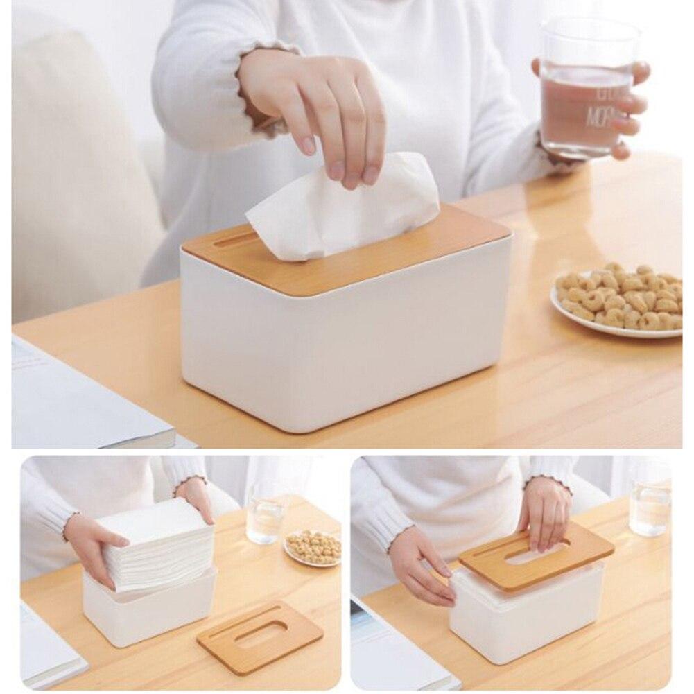 Hot Home Kitchen Wooden Plastic Tissue Box Paper Towel Case Office Napkin Holder