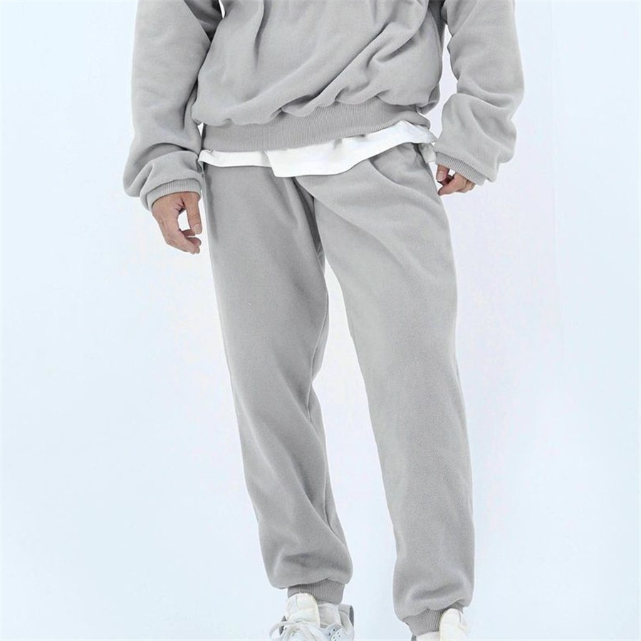 Fashion Hip Hop Composite Polar fleece Casual Jogging Pants Winter Korean High Street Joggers Streetwear Sweatpants Men M-3XL