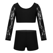 Kids Two-piece Dancewear Lace Long Sleeves Ballet Gymnastics Crop Top with Shorts Set Girls Stage Pe