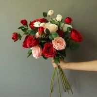 fake rose silk artificial flowers bouquet decoration 2 big head and bud flowers for home wedding party garden table office decor