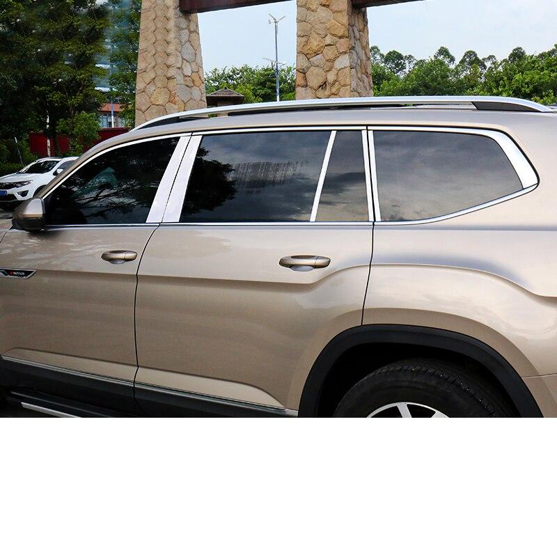 Lsrtw2017 para Volkswagen Atlas Teramont Vw coche ventana cromo adornos accesorios interiores molduras 2017, 2018, 2019, 2020