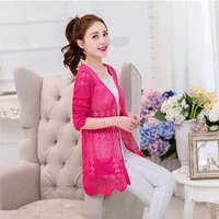 spring and summer shawl coat long hollow thin sweater the new long sleeved wai da sun protection clothing