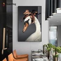 Toile de peinture avec animaux de compagnie  canard creatif  porte un mouchoir  tableau mural moderne  pour salon  salle a manger  decoration de maison nordique