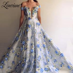 Vestido Amazing Off Shoulder Blue Prom Dresses 2020 Handmade Flowers Formal Evening Gown Arabic Dubai Party Dress Robe De Soiree