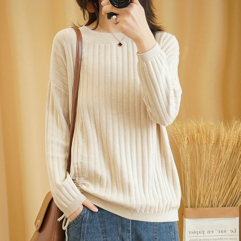 Sparsil Women O-Neck Wool Blend Sweater Lace Up Design Knitted Pullovers Female Soft Knitwear Warm Fashion Girl Base Shirt