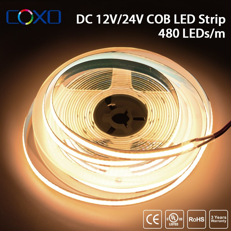 [해외] UL 나열 된 COB LED 스트립 빛 480 LEDs/m 8mm 고밀도 유연한 테이프 리본 3000-6500K RA90 디 밍이 가능한 Led 조명 DC12V 24V 5M