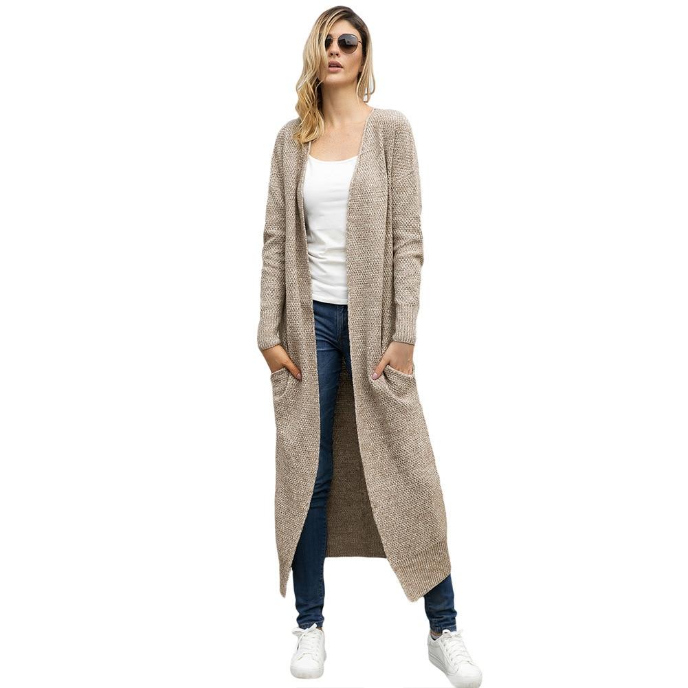 Autumn And Winter Women's New Sweater Coat Long Sleeve Loose Medium Long Needle Women's Sweater
