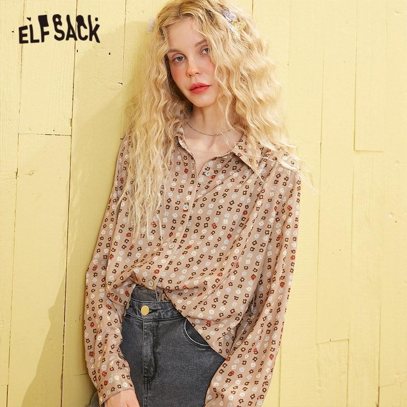 ELFSACK шифоновые Повседневные рубашки с цветочным принтом карамели для женщин, новинка весны 2020, винтажные повседневные топы с длинным рукаво...