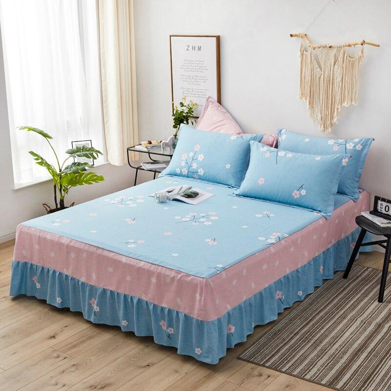 تنورة سرير من القطن الخالص ، قطعة واحدة ، غطاء مرتبة ، تنورة